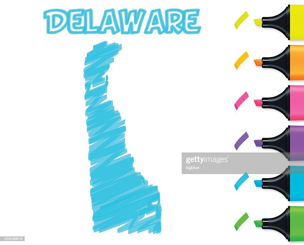 Delaware map hand drawn on white background, blue highlighter : stock illustration