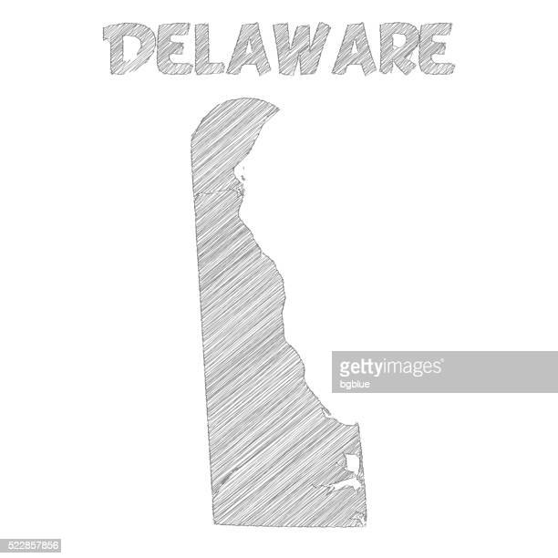 delaware map hand drawn on white background - wilmington delaware stock illustrations, clip art, cartoons, & icons