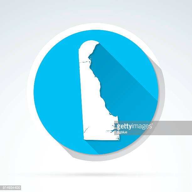 Delaware map icon, Flat Design, Long Shadow
