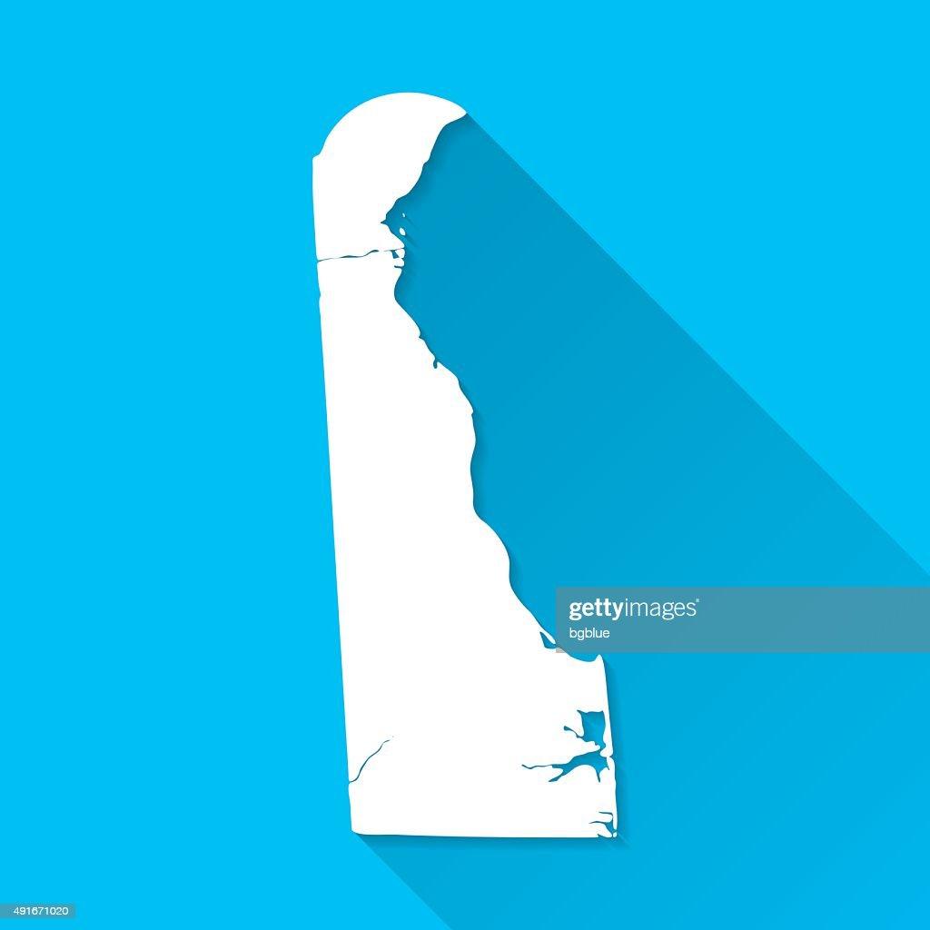 Delaware Map on Blue Background, Long Shadow, Flat Design : stock illustration