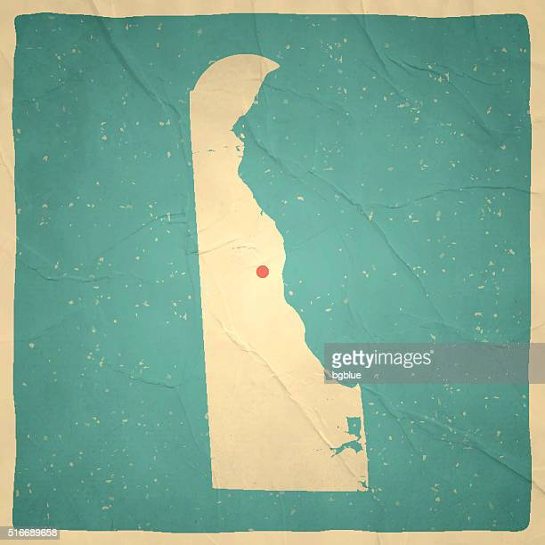 delaware map on old paper - vintage texture - wilmington delaware stock illustrations, clip art, cartoons, & icons