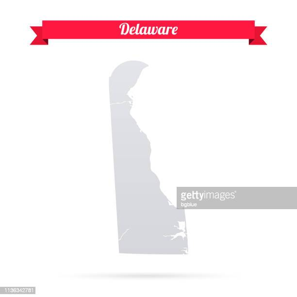 delaware map on white background with red banner - wilmington delaware stock illustrations, clip art, cartoons, & icons