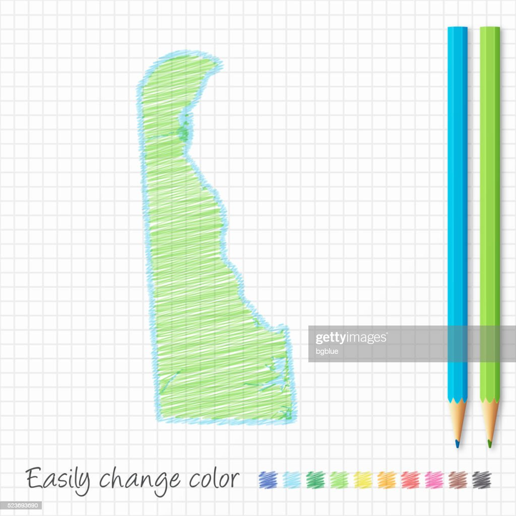 Delaware map sketch with color pencils, on grid paper : stock illustration