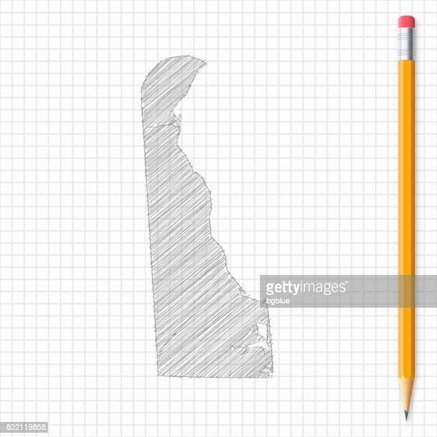 delaware map sketch with pencil on grid paper - wilmington delaware stock illustrations, clip art, cartoons, & icons