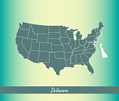 Delaware map vector outline illustration highlighted in USA map vector blue background