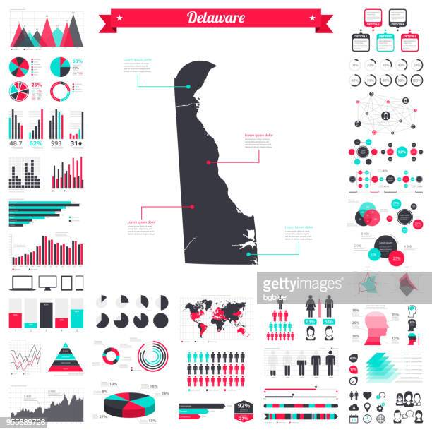 Delaware map with infographic elements - Big creative graphic set