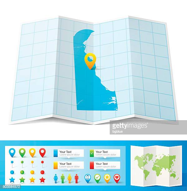 delaware map with location pins isolated on white background - wilmington delaware stock illustrations, clip art, cartoons, & icons
