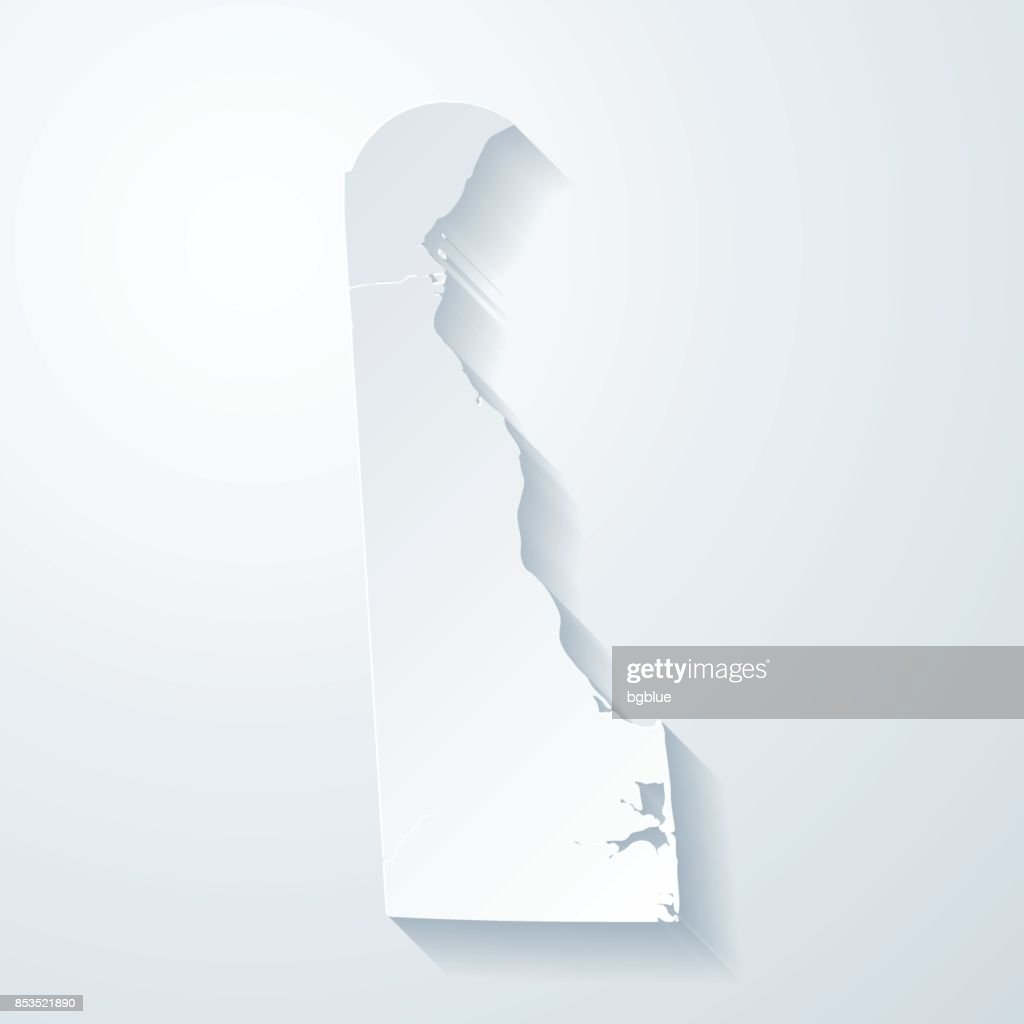 Delaware map with paper cut effect on blank background : stock illustration