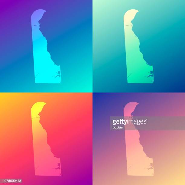 Delaware maps with colorful gradients - Trendy background