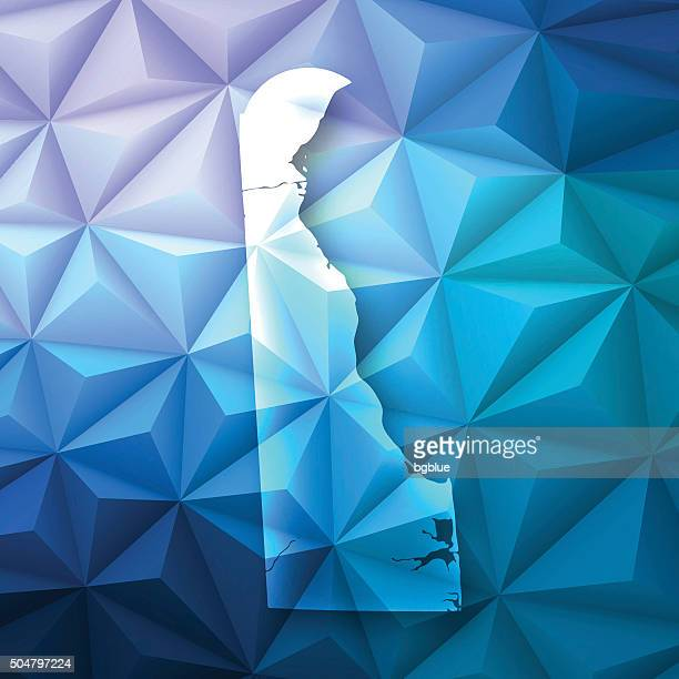 delaware on abstract polygonal background - low poly, geometric - delaware us state stock illustrations
