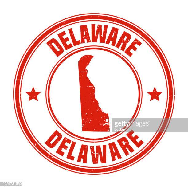 delaware - red grunge rubber stamp with name and map - wilmington delaware stock illustrations, clip art, cartoons, & icons