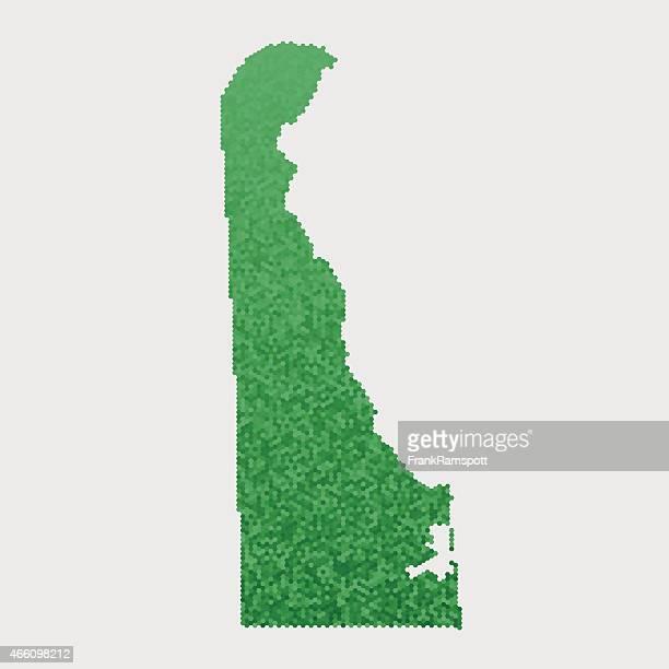 Delaware State Map Green Hexagon Pattern