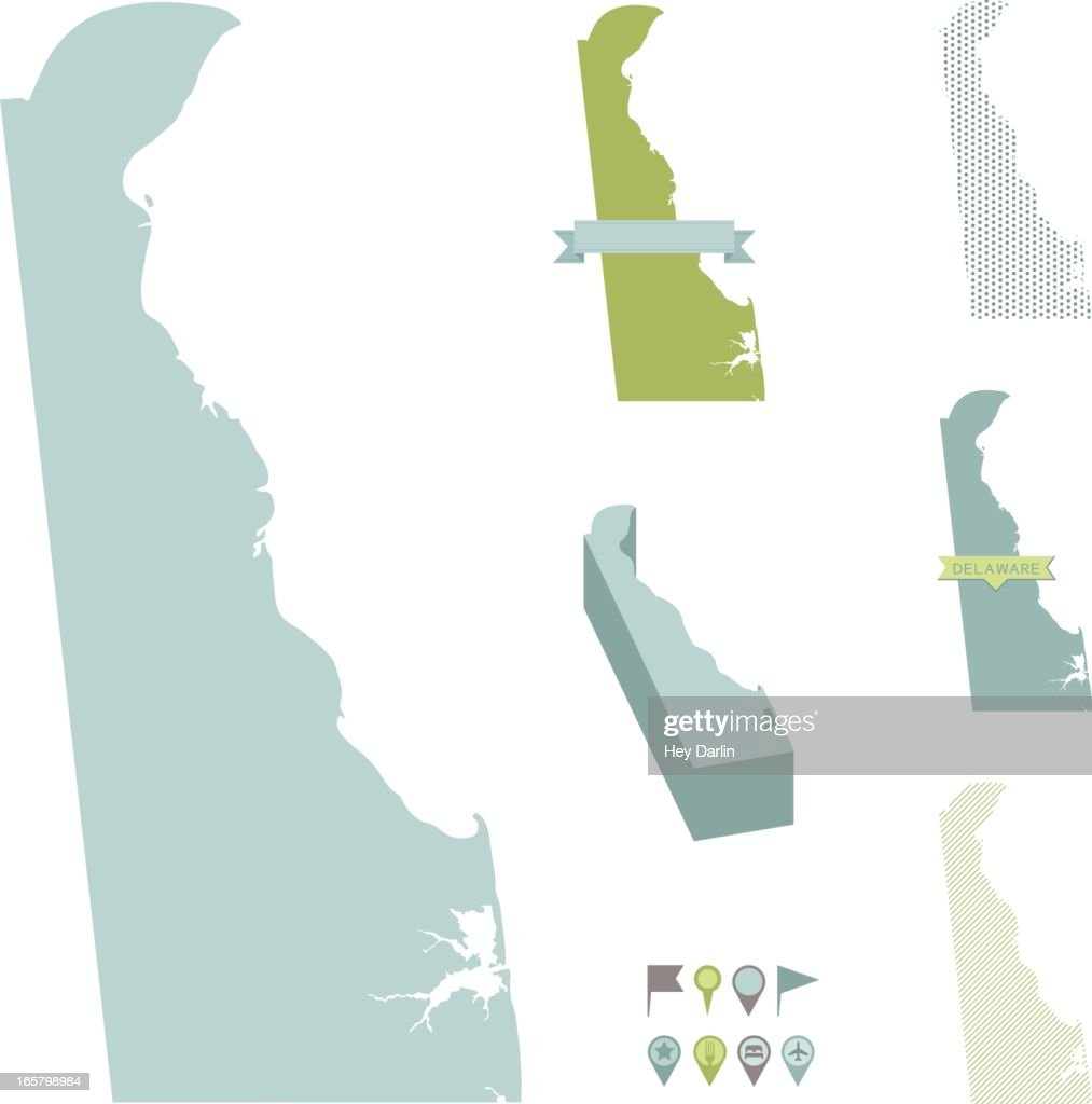 Delaware State Maps : stock illustration