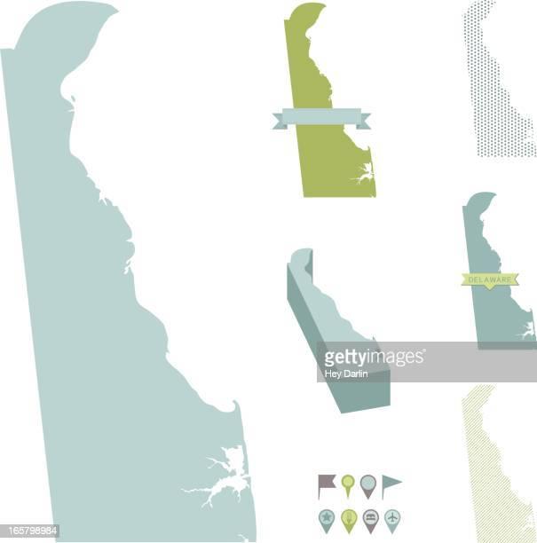 delaware state maps - delaware stock illustrations, clip art, cartoons, & icons