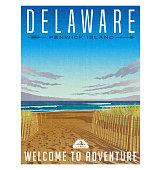 Delaware travel poster. Serene beach, sand dunes and Atlantic ocean