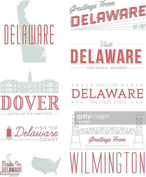 delaware typography - wilmington delaware stock illustrations, clip art, cartoons, & icons