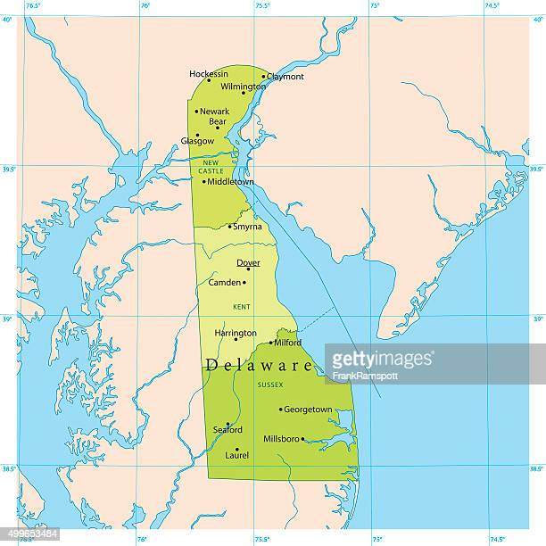 delaware vector map - newark delaware stock illustrations, clip art, cartoons, & icons