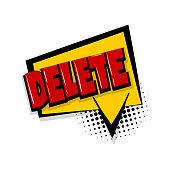 delete comic text white background