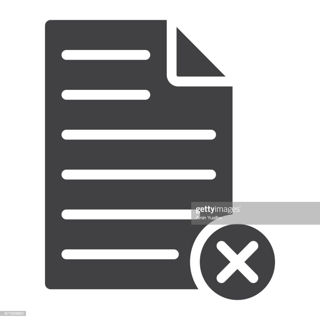 Delete document glyph icon, web and mobile, delete file sign vector graphics, a solid pattern on a white background, eps 10.