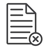 Delete document line icon, web and mobile, delete file sign vector graphics, a linear pattern on a white background, eps 10.