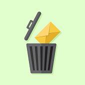 Delete email or message flat design illustration