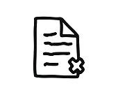 delete file icon hand drawn design illustration