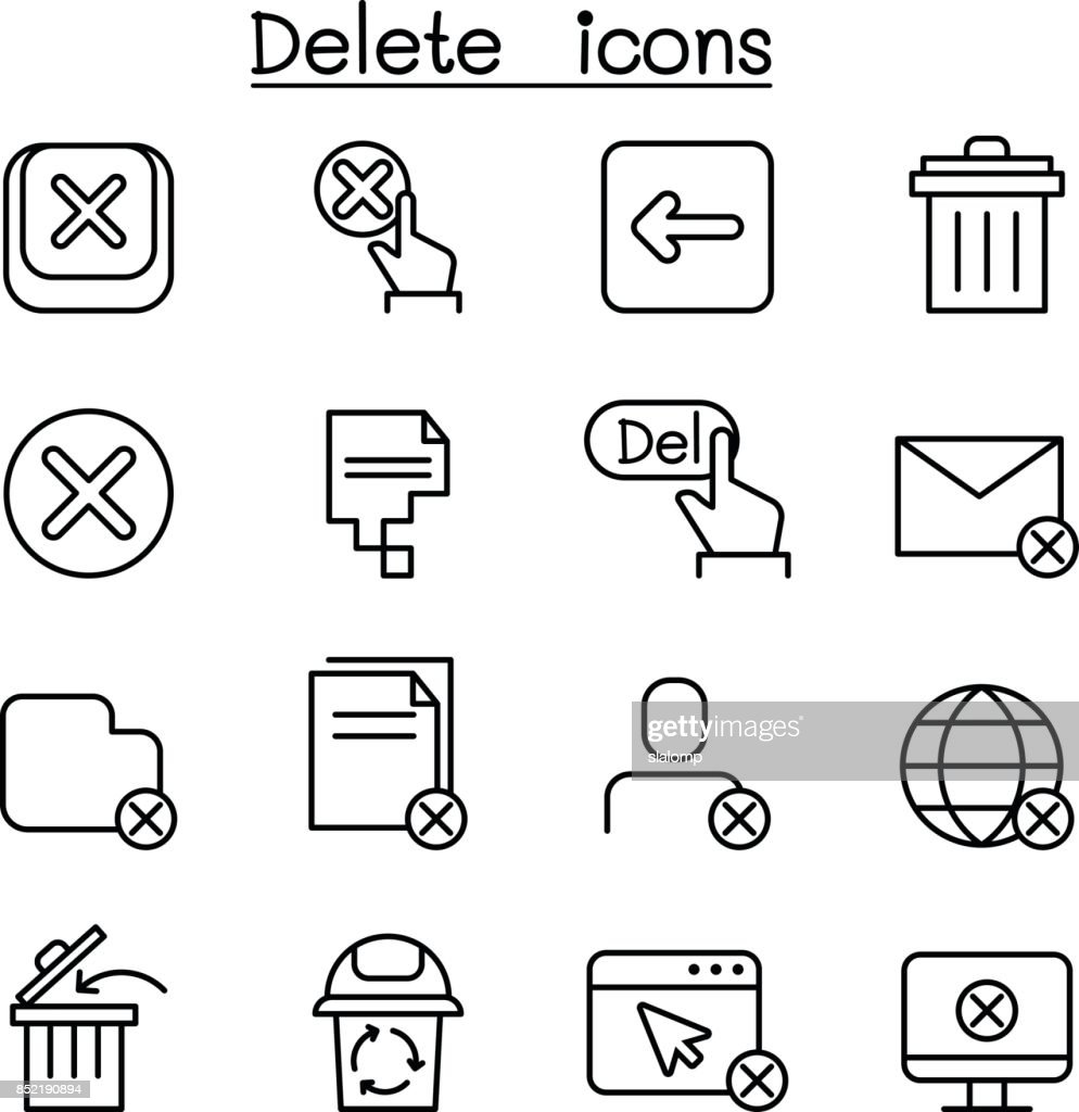 Delete icon in thin line style