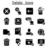 Delete icon set vector illustration graphic design