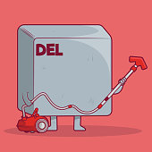 Delete key holding a vacuum cleaner vector illustration.