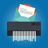 delete remove spam email trash message paper shredder
