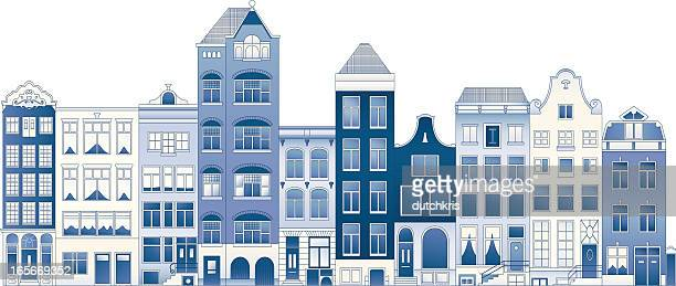 delft blue row houses - amsterdam stock illustrations, clip art, cartoons, & icons