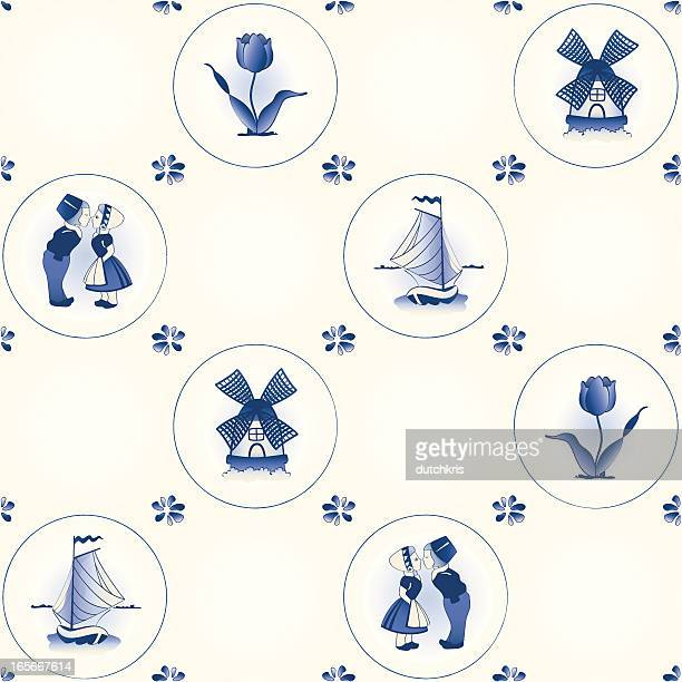 Delft blue tile pattern swatch
