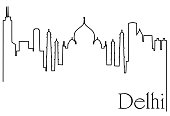 Delhi city one line drawing background