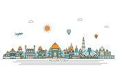 Delhi detailed skyline.  Vector background. line illustration. Line art style