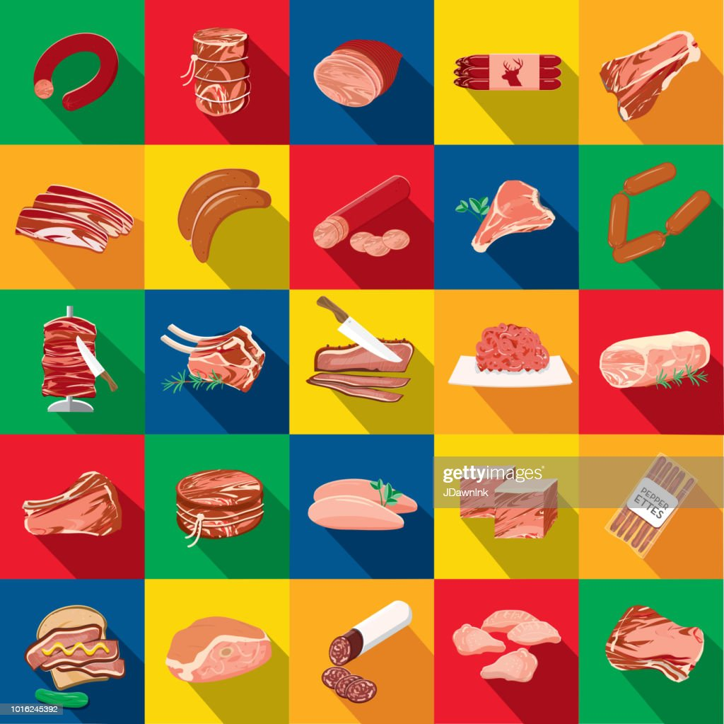 Deli meat cuts assorted cuts Flat Design themed Icon Set with shadow