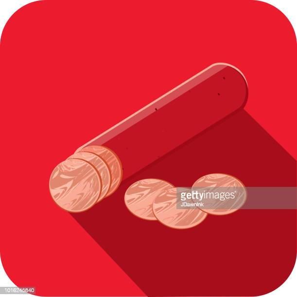 Deli meat cuts pepperoni salami stick Flat Design themed Icon with shadow