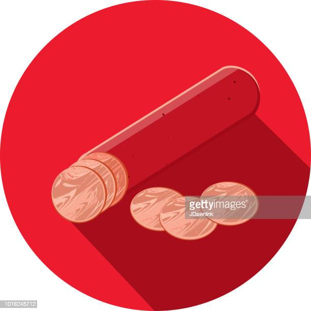 Deli meat cuts pepperoni stick Flat Design themed Icon with shadow