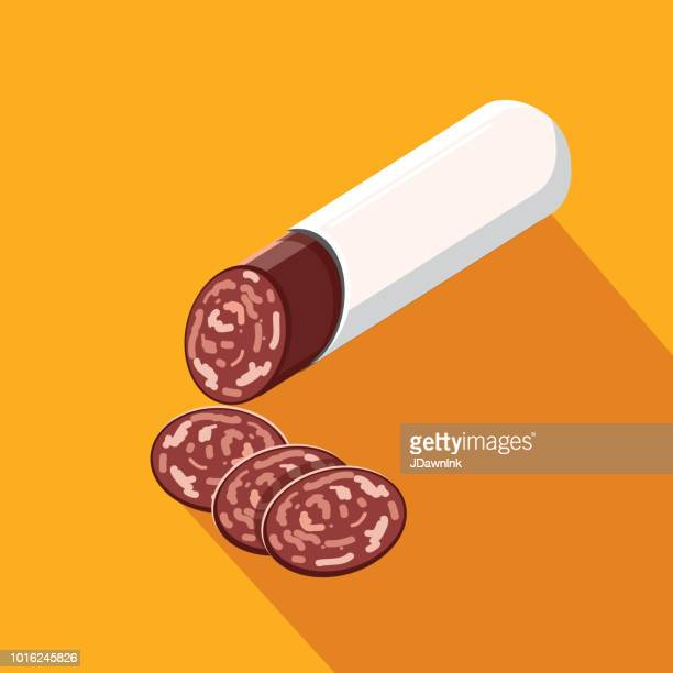 Deli meat cuts salami stick Flat Design themed Icon with shadow