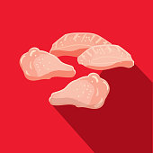 Deli meat cuts split chicken wings Flat Design themed Icon with shadow
