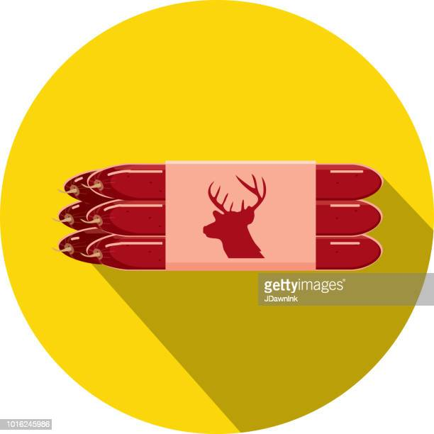 Deli meat cuts venison pepperettes Flat Design themed Icon with shadow