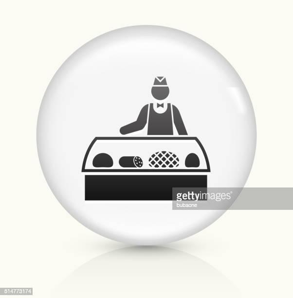 Deli Verkäufer Symbol auf weißer Runder Vektor Knopf