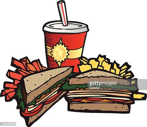 デリサンドイッチのお食事とドリンク - ローストビーフ点のイラスト素材/クリップアート素材/マンガ素材/アイコン素材