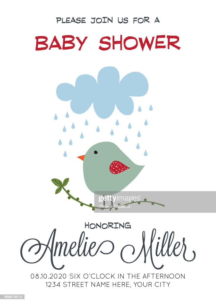 Delicate Customizable Baby Shower Card Template With Bird Vector Art