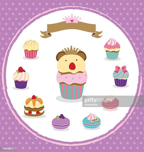 delicate desserts with cute decorations - macaroon stock illustrations, clip art, cartoons, & icons