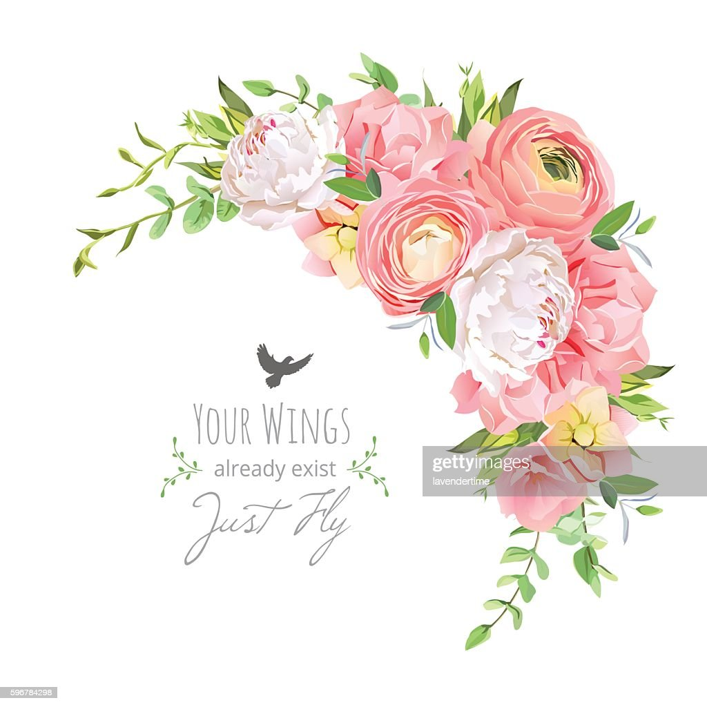 Delicate floral vector frame with ranunculus, peony, rose, carnation,