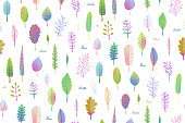 Delicate Nature Leaves Seamless Pattern Background