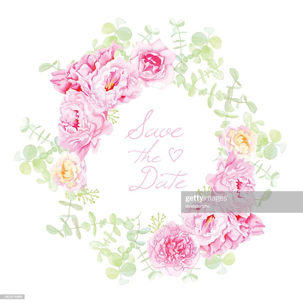 Delicate peonies wreath round vector frame