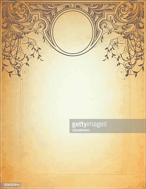 delicate scroll and banner - art nouveau stock illustrations, clip art, cartoons, & icons