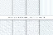 Delicate seamless striped patterns. Decorative fabric geometric textures.