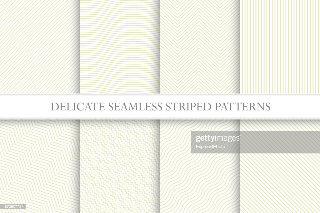 Delicate seamless striped patterns. Fabric textures. Tileable swatches